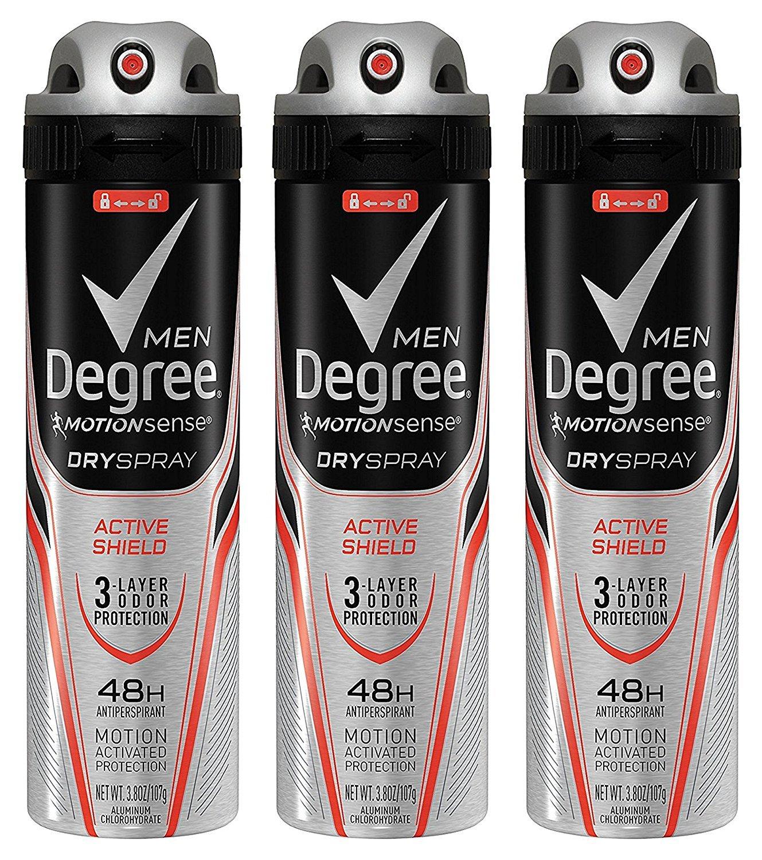 Degree Deodorant Mens Dry Aerosol Spray - Active Shield 3.8 oz. (Pack of 3)