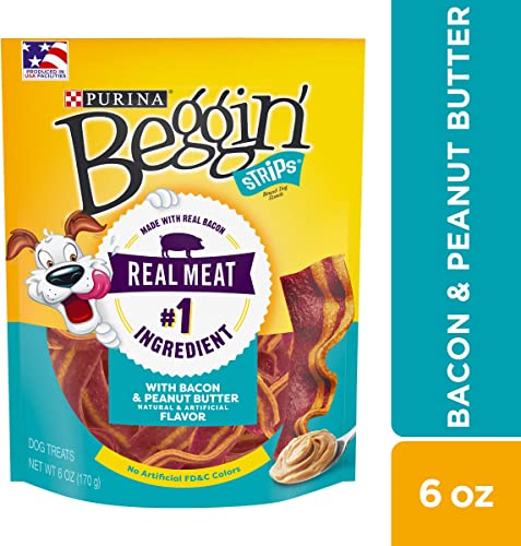 Purina Beggin Strips Made in USA Facilities Dog Training Treats, With Bacon Peanut Butter Flavor – 6 oz. Pouch