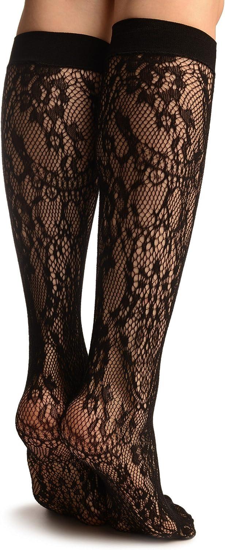 Black Pearls /& Flowers Lace Socks Knee High Socks