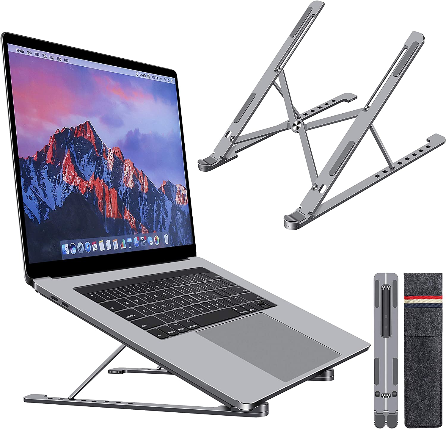 "Laptop Stand, Foldable Desktop Holder, Portable Computer Laptop Mount Aluminum Laptop Riser with 8 Levels Height Adjustment, for MacBook Air Pro, Dell XPS, HP, Lenovo, Fits up to 17.3"", Space Grey"