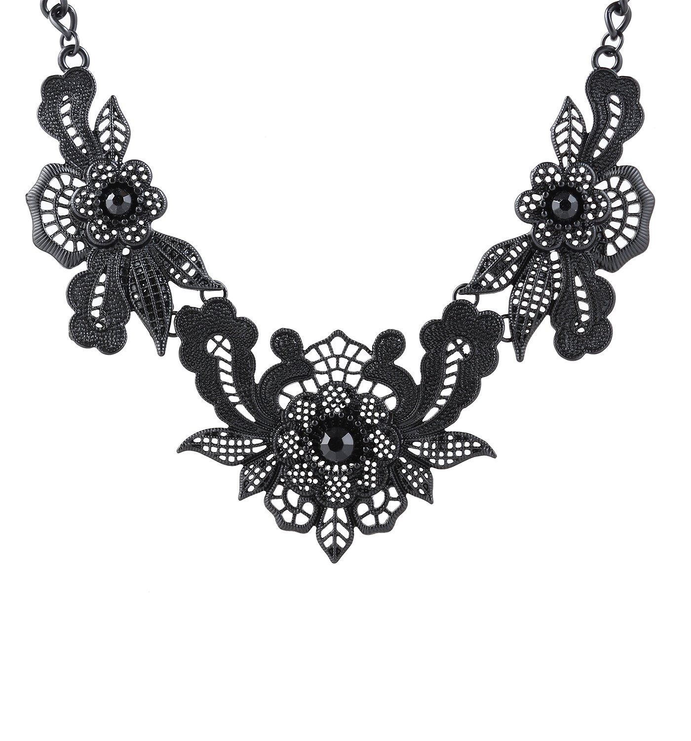 Women's Bib Collar Necklace Statement Floral Chunky Necklace (Black)