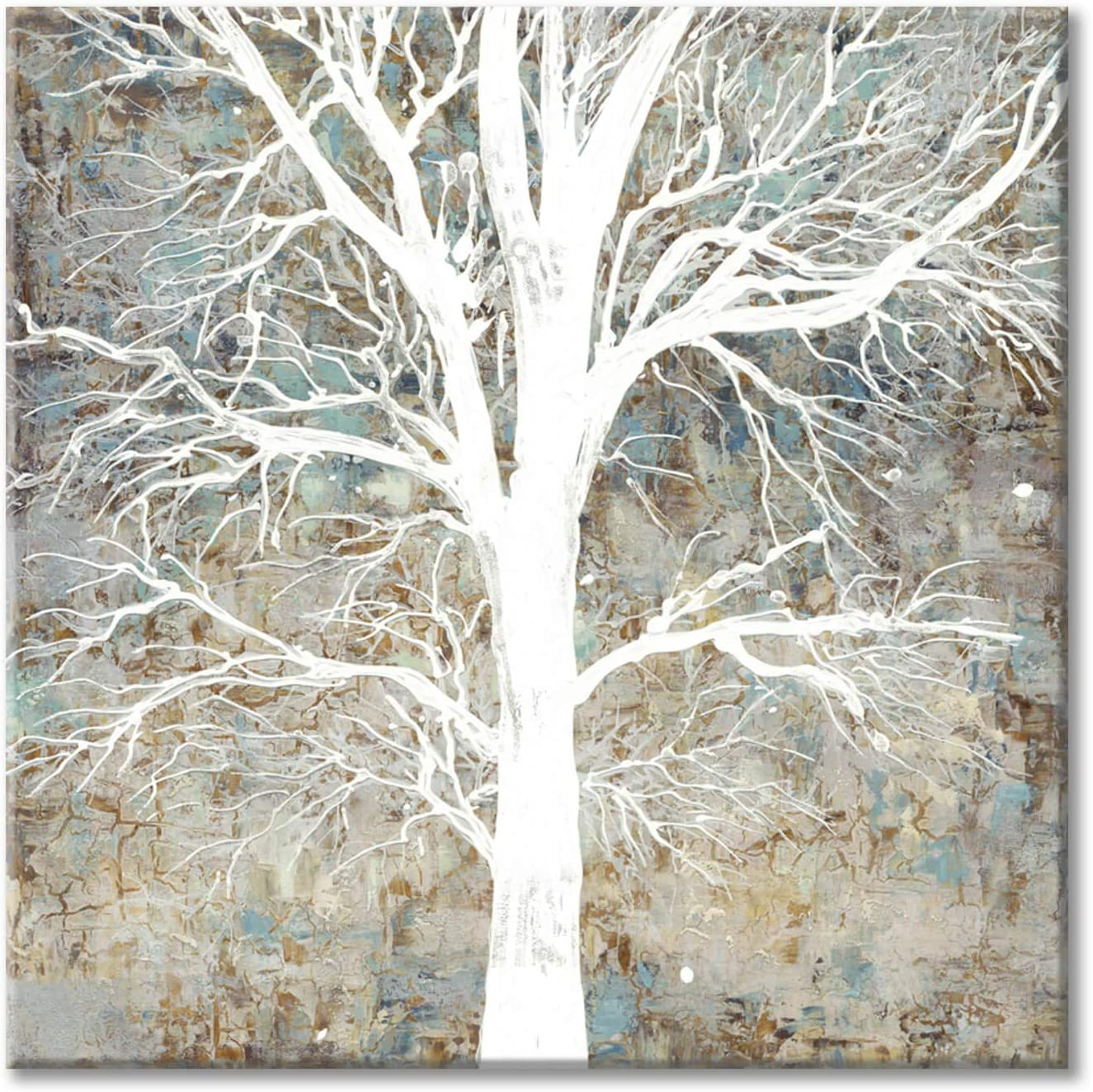 Abstract Tree Picture Wall Art: White Shadow Tree Artwork Texture Painting on Canvas for Bedroom (24'' x 24'' x 1 Panel)