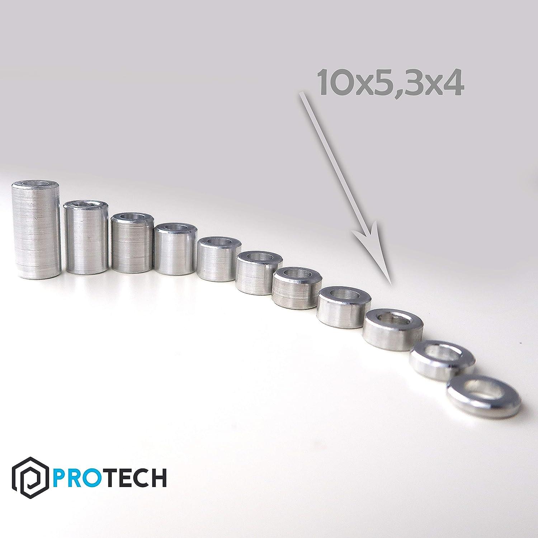 PROTECH 10 St/ück Distanzh/ülsen aus Aluminium 10x5,3x4 Alu H/ülsen Abstandsh/ülse Abstandhalter Rohrbuchse