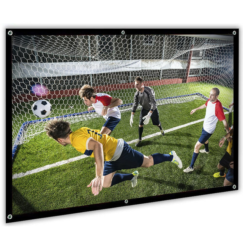 Portable Projector Screen, 100 inch Movie Projector Screen 16:9 HD for Home Theater Outdoor Indoor Office, Upgrade Material