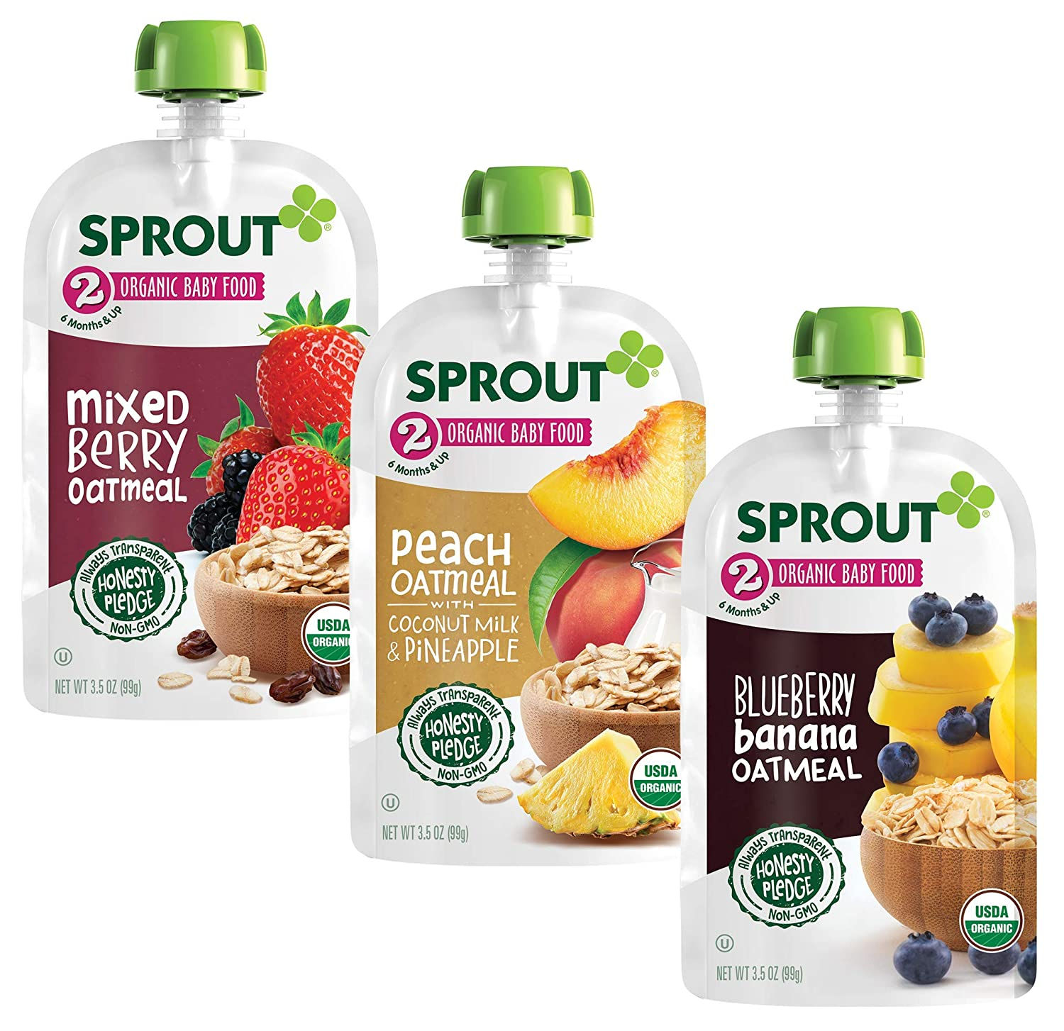 Sprout Organic Baby Food Pouches, Stage 2 Oatmeal Variety (Pack of 18); 6 (3.5 oz) Blueberry Banana oatmeal,6 (3.5 oz) Mixed Berry Oatmeal, 6 (3.5 oz) Peach Oatmeal with Coconut Milk & Pineapple