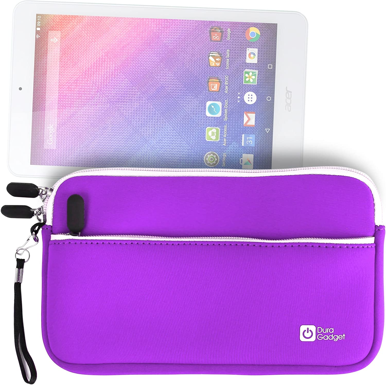 Purple Water Resistant Neoprene Travel Case with Front Zip Compartment - Compatible with The Acer Iconia One B1-850 Tablet