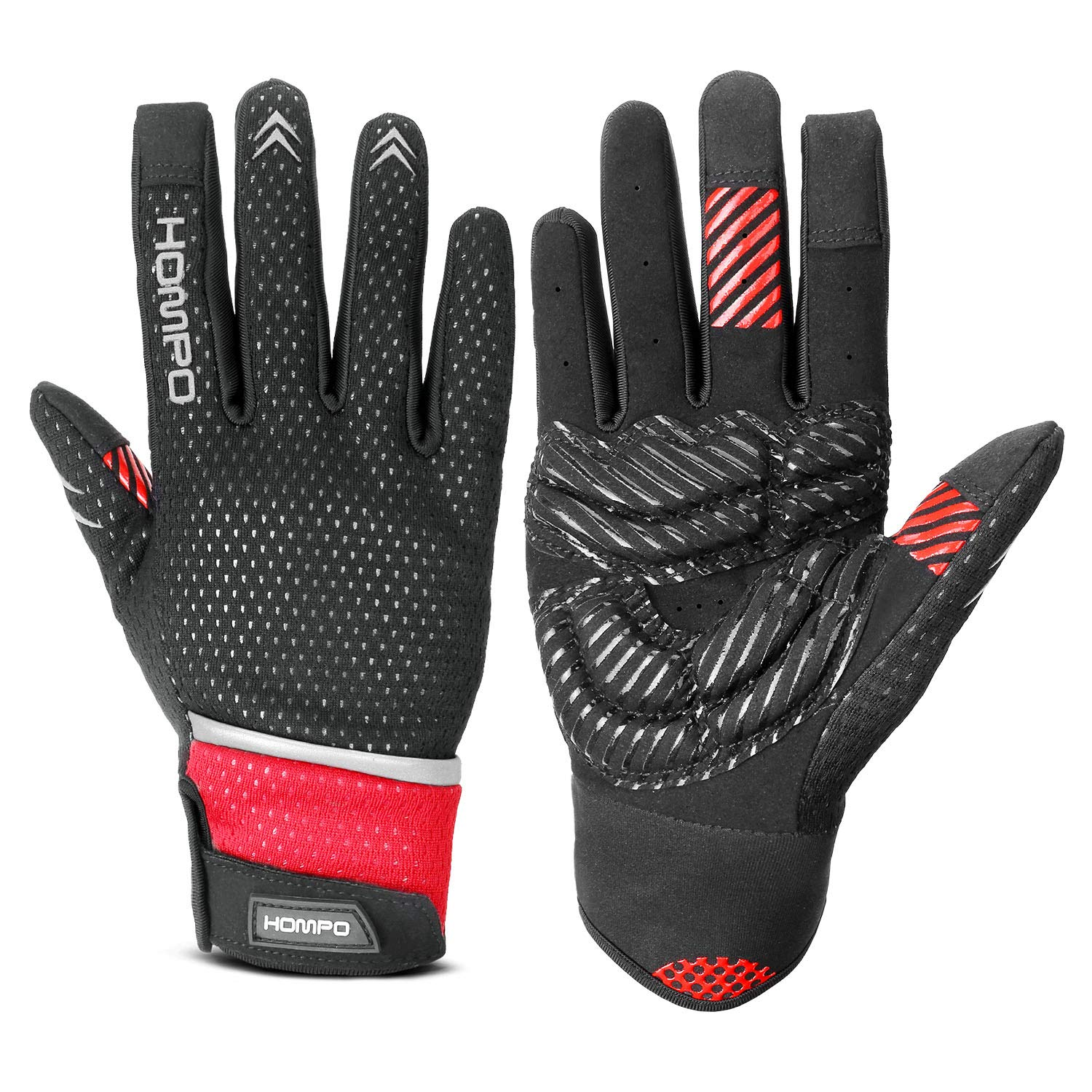 Road Bicycle Gloves for Men HOMPO Cycling Gloves Full Finger Cycle Gloves 5 mm Shock-absorbing Pad Touch Screen Warm Wind-proof and Breathable Mountain Women and Children