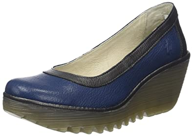 Yano838fly, Escarpins Bout Fermé Femme, Bleu (Blue/Graphite), 37 EUFLY London