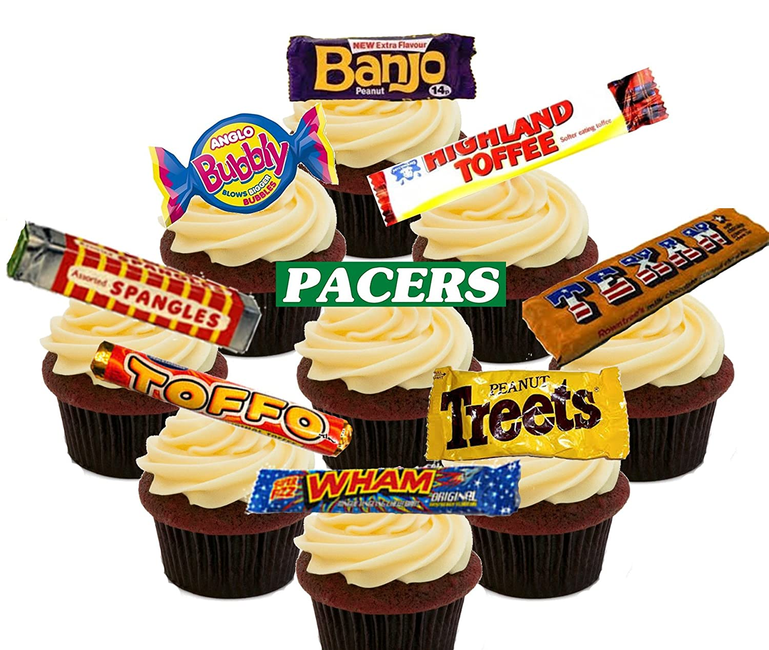 Retro Sweets 70s And 80s Party Pack Edible Cupcake Toppers Stand
