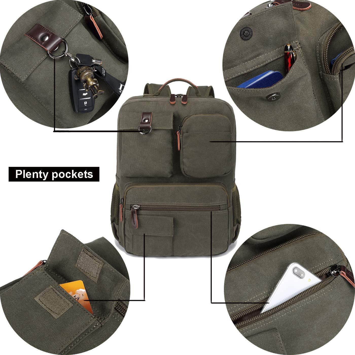 School Backpack Vintage Canvas Laptop Backpacks Men Women Rucksack Bookbags (Army Green) by CAMTOP (Image #3)