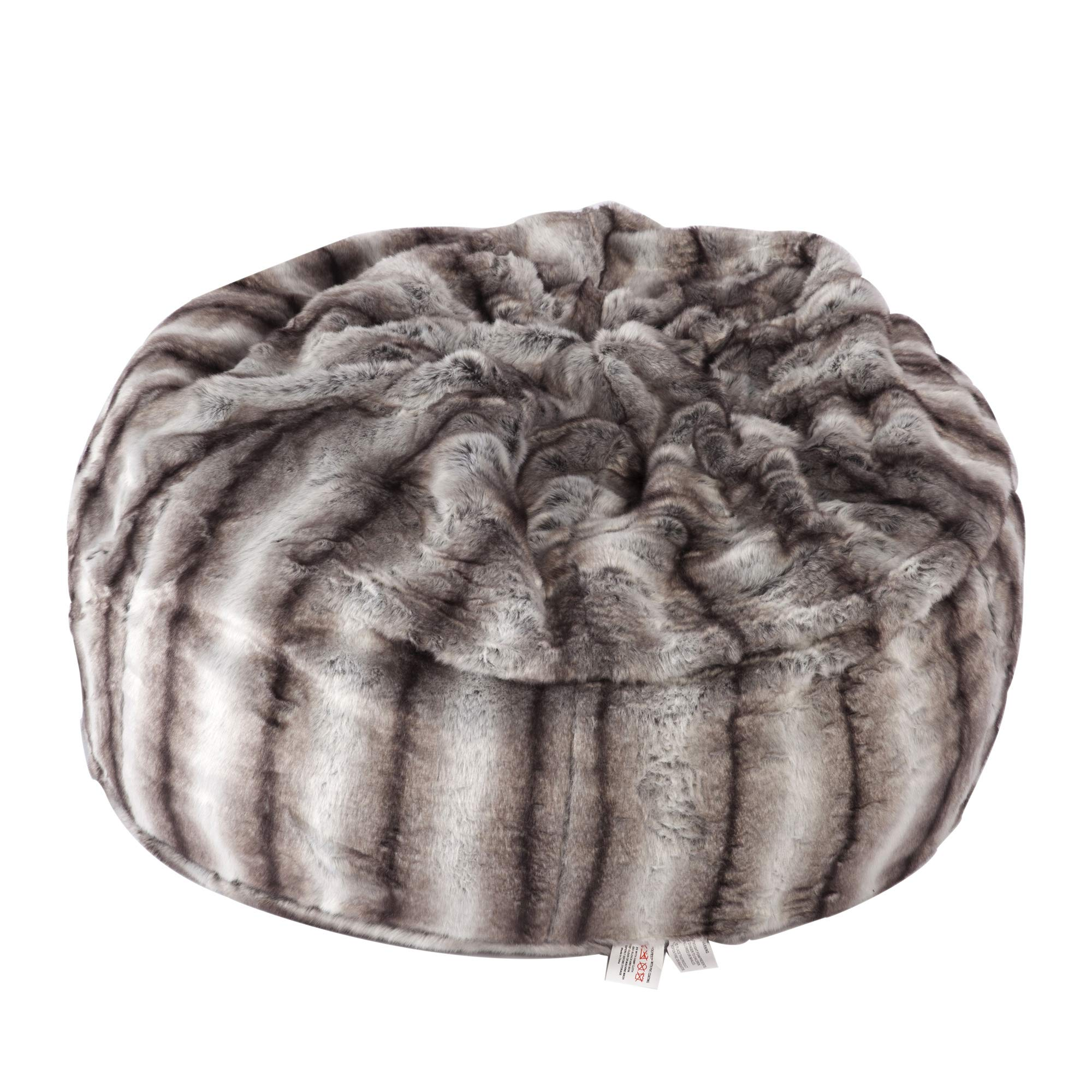 LUCKYERMORE Faux Fur Bean Bag Chair Luxury and Comfy Big Beanless Bag Chairs Plush Furry Chair Soft Sofa Lounger for Adults and Kids,Sponge Filling, 3 ft, Grey Streak Print by LUCKYERMORE