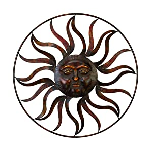 "Deco 79 97917 Sun Face Wall Decor 36""Diameter Textured Bronze Finish"
