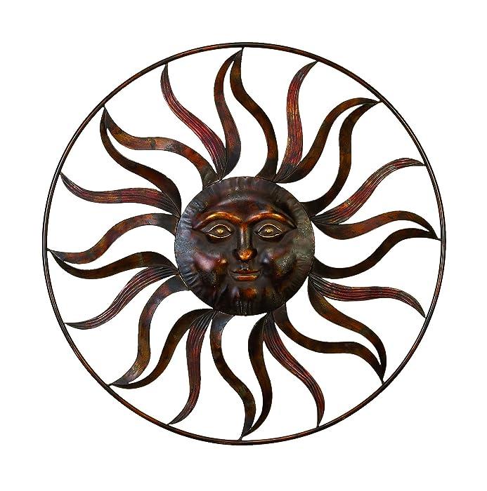 "Deco 79 97917 Sun Face Wall Decor 36""Diameter Textured Bronze Finish"