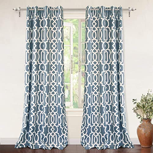 DriftAway Abigail Trellis Room Darkening and Thermal Insulated Grommet Unlined Window Curtains Set of 2 Panels Each 52 Inch by 84 Inch Blue