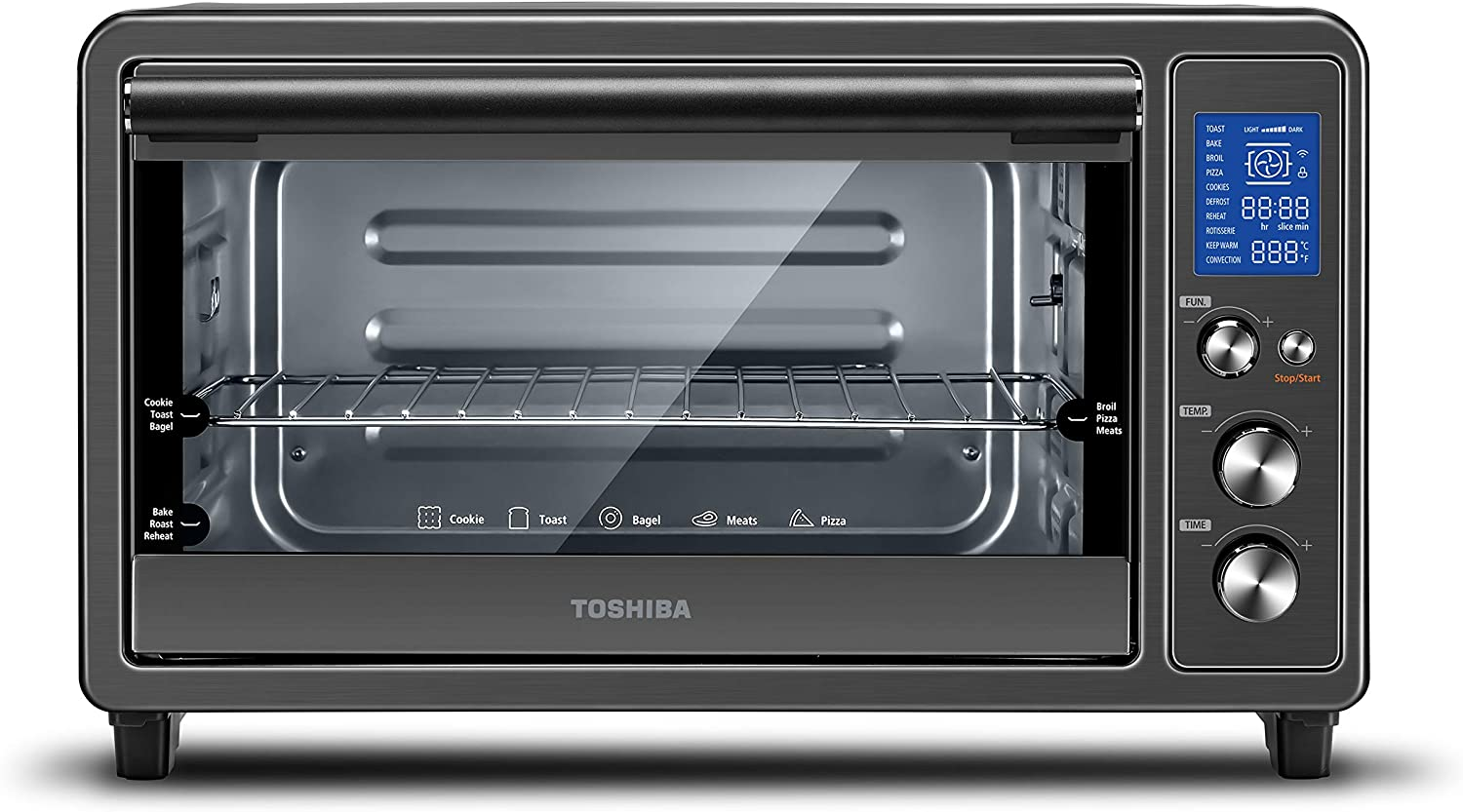 Toshiba Digital Toaster Oven with Double Infrared Heating and Speedy Convection, Larger 6-slice/12-inch Capacity, 1700W, 10 Functions and 6 Accessories Fit All Your Needs