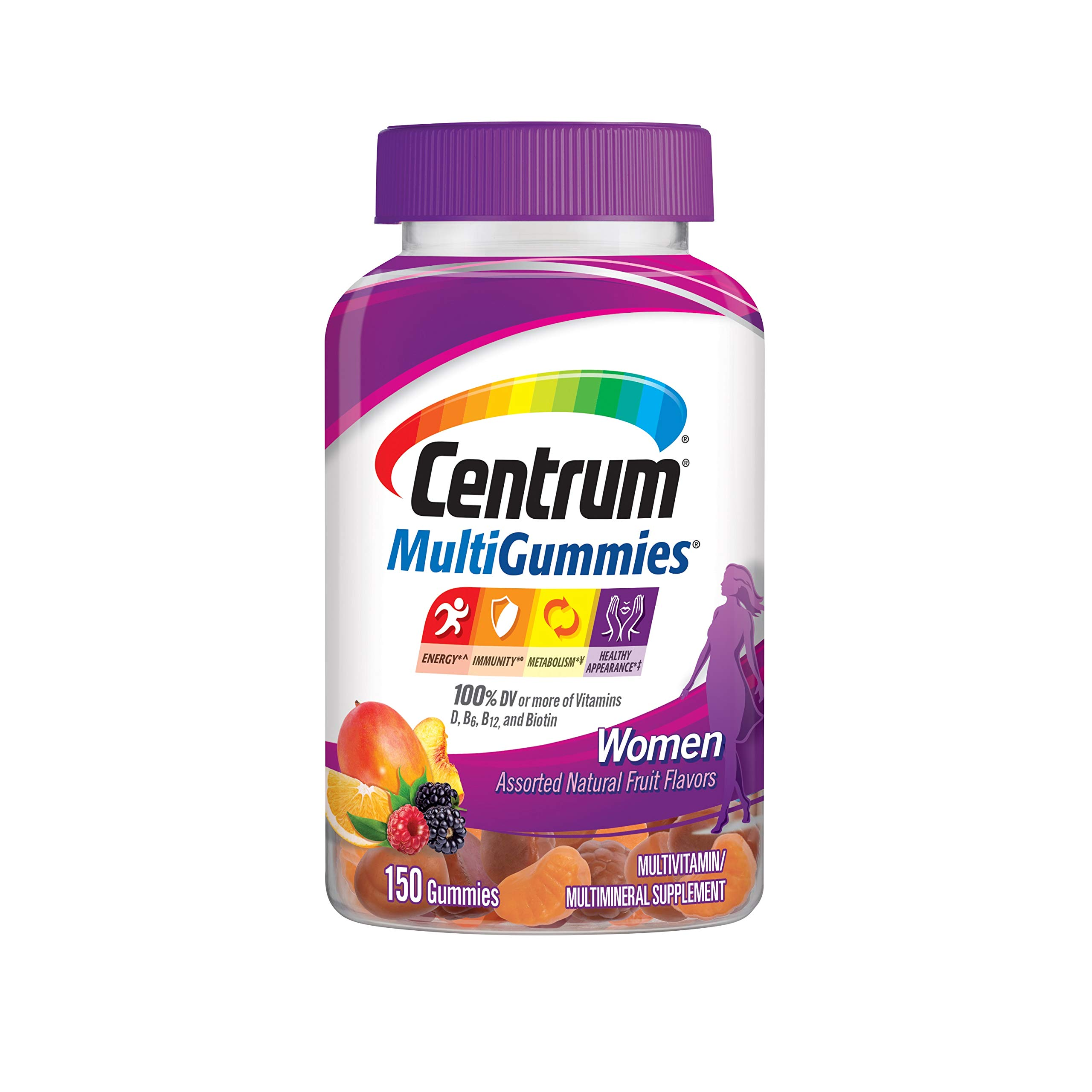 Centrum MultiGummies Gummy Multivitamin for Women, Multivitamin/Multimineral Supplement with Vitamin D3, B Vitamins and Antioxidants, Assorted Fruit Flavor - 150 Count