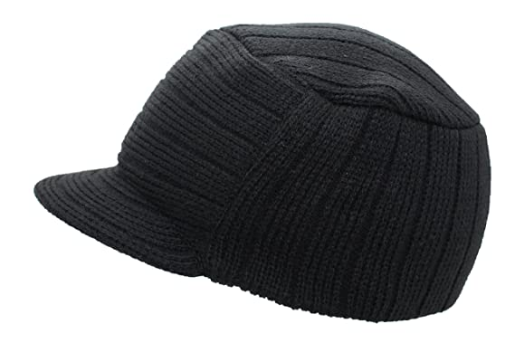 21182e91716 Unisex Mens Ladies Peaked Army Jeep Beanie Hat Warm Winter Wooly Cadet Ski  Cap (Black)  Amazon.co.uk  Clothing