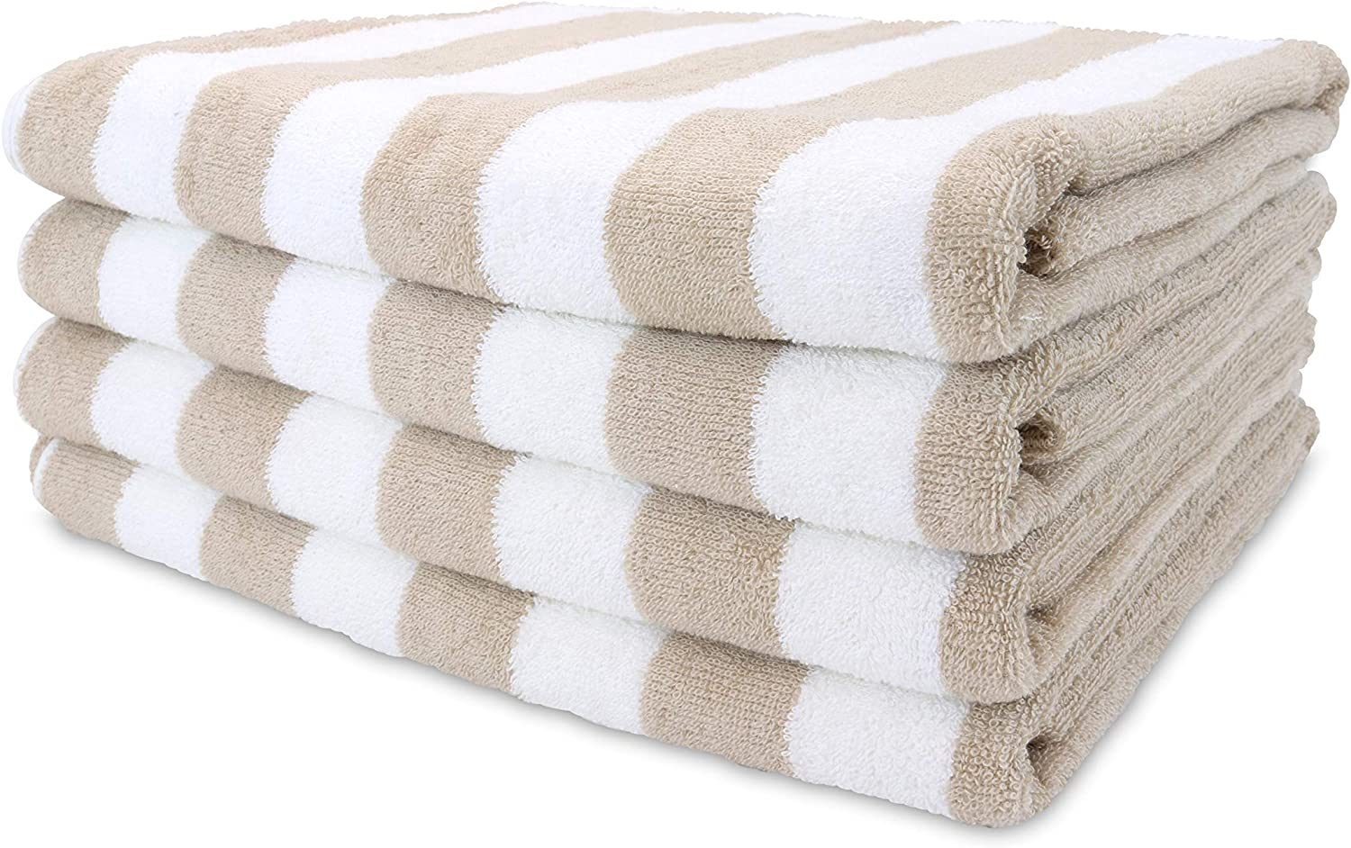 Arkwright California Cabana Striped Beach Towel Pack of 4, Ringspun Cotton Double Yarn Strength