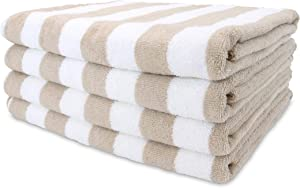 Arkwright Oversized Beach Towels (30x70, 4-Pack), Ringspun Cotton Double Yarn Strength, Perfect Beige Striped Pool Towel, Beach Towel, Bath Towel