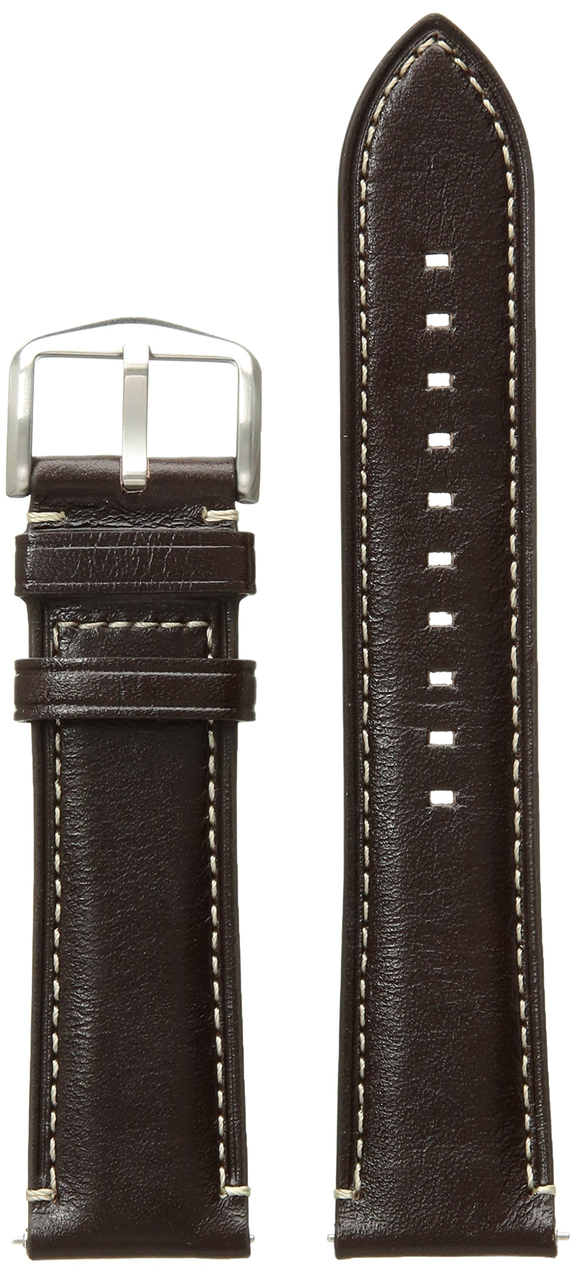 Fossil S221245 22mm Leather Calfskin Dark Brown Watch Strap by Fossil