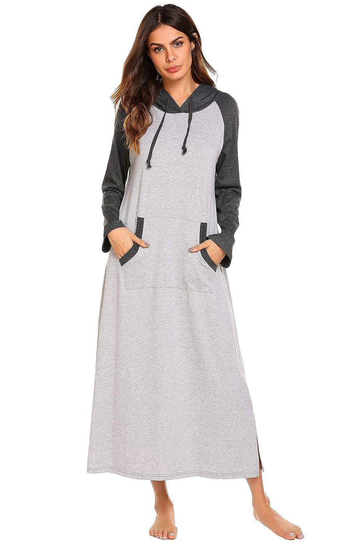 Ekouaer Womens Cotton Nightgown, Warm Long Sleep Dress,Sleepwear with Kangaroo Pocket *EKV007152_GR_S_ca