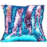 Wonder4 Sequin Pillow Case 16 X 16 inches Reversible Cushion Cover Change Color Cotton Linen Couch Mermaid Throw Pillow Cover with insert for Decoration (Pink & Blue)