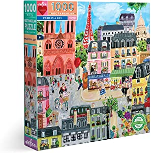 eeBoo's Piece and Love Paris in a Day 1000 Piece Rectangular Adult Jigsaw Puzzle