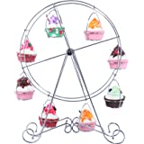 Ferris Wheel Cupcake Dessert Stand Carrier Holder - Steel Wire Frame - for Circus Theme Parties, Birthdays, Weddings, & More - Holds 8 Cupcakes - 17 Inches