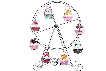 Rueda de la fortuna Cupcake Rack- Bakers Cocina Boda Fiesta de cumpleaños circular alambre de acero Pisos Enfriamiento Pastry Cake Cupcake stand-17