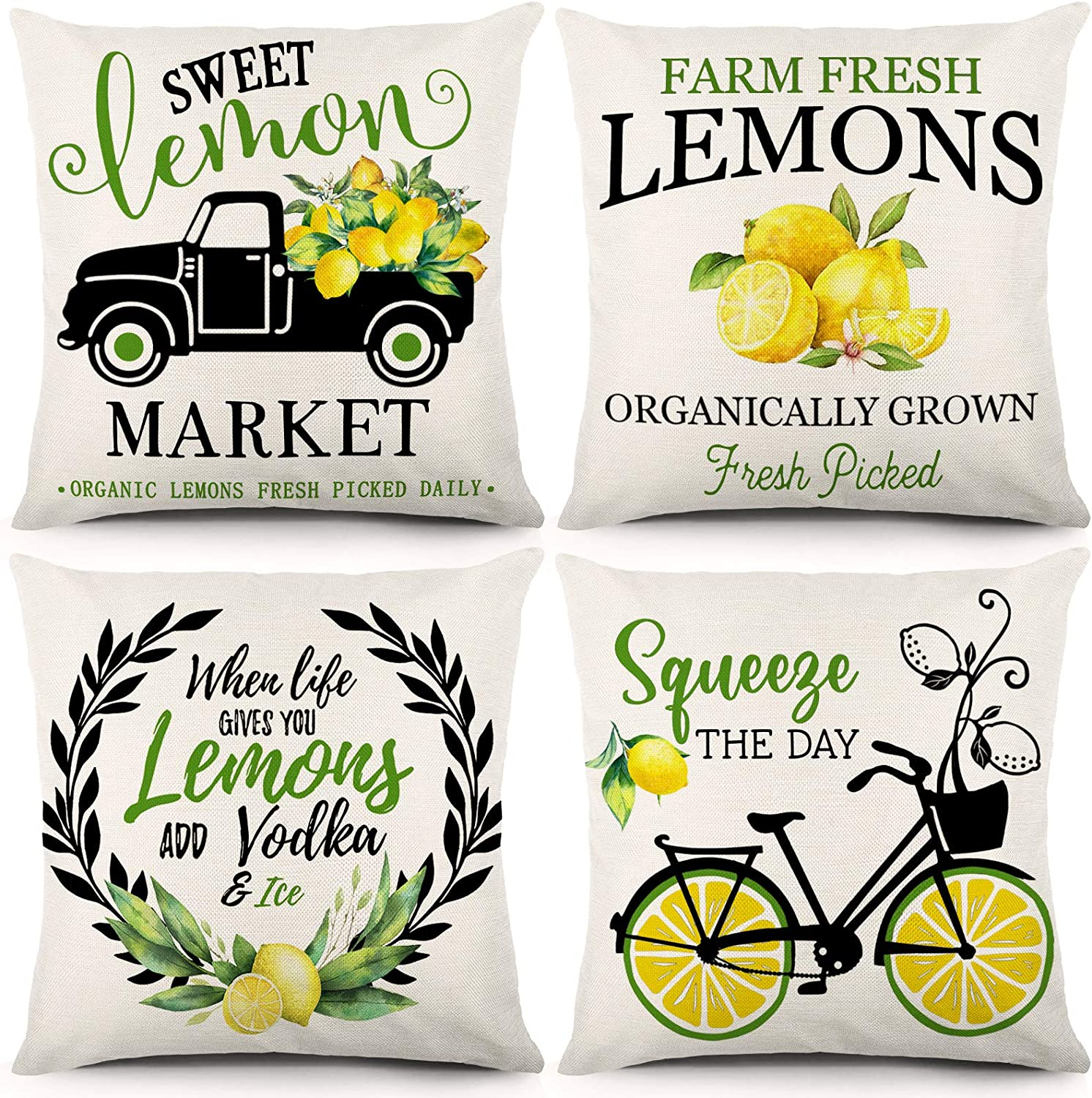 CDWERD Lemon Throw Pillow Covers 18 x 18 Inch Set of 4 Spring Summer Decorations Farmhouse Green and Yellow Sweet Lemon Pillowcase Linen Cushion Case for Couch or Home Decor