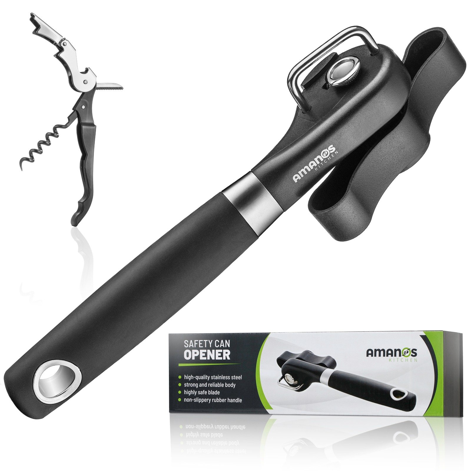 Manual Safety Can Opener Smooth Edges | Professional Ergonomic Soft Grip Handle Kitchen Cans Opener | Hand Held Dishwasher Safe Stainless Steel - Black + Wine Bottle Opener