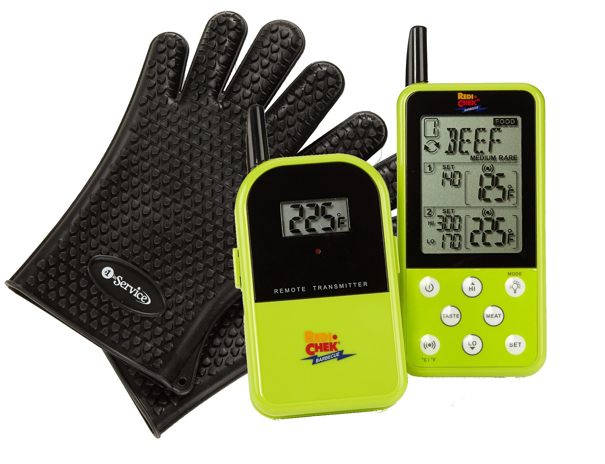 Long Range Wireless Dual Probe Barbecue Smoker Meat Thermometer Set - Newest Version with a Larger Display and Added Features – Monitors your grill up to 300 feet (Et-733) – Green and a Bonus pair of top quality Heat Resistant Silicone Gloves in Black