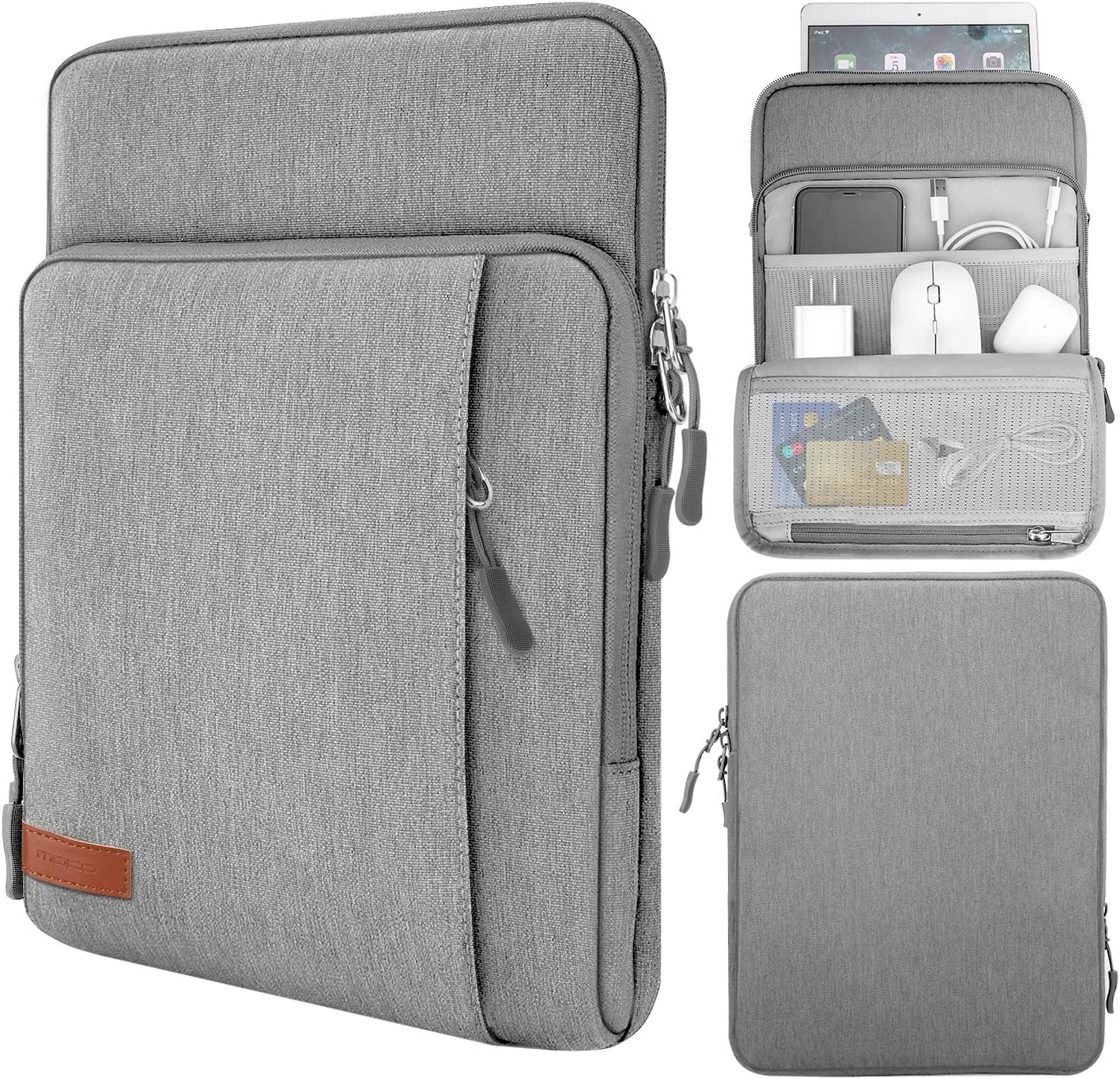 MoKo 9-11 Inch Tablet Sleeve Bag Carrying Case with Storage Pockets Fits iPad Pro 11, iPad 8th 7th Generation 10.2, iPad Air 4 10.9, Air 3 10.5, iPad 9.7, Galaxy Tab A 10.1, S6 Lite, S7 - Light Gray