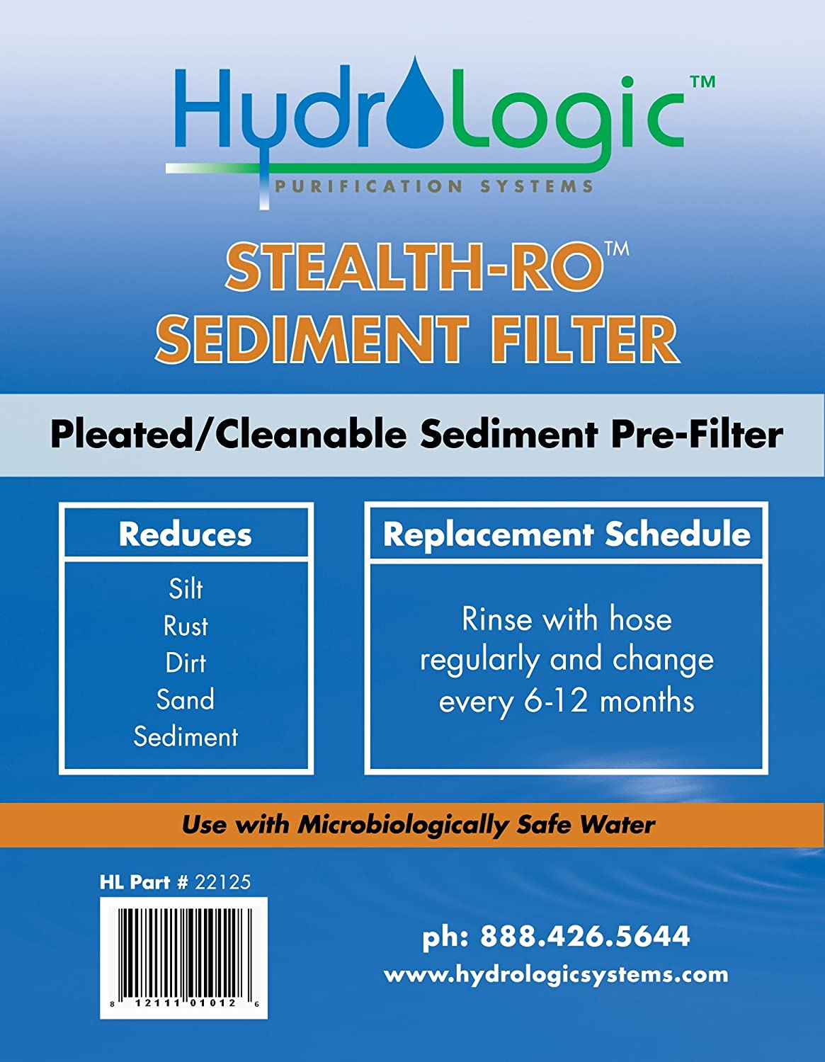 Package Of 2 Hydrologic 22125 Stealth-RO Replacement Sediment Filter--