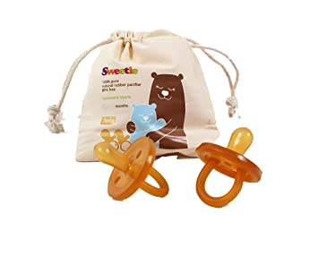 SWEETIE RUBBER Pacifier Natural Rubber Pacifier Rounded 1 Count 6-12 Months Original Natural Rubber Pacifier
