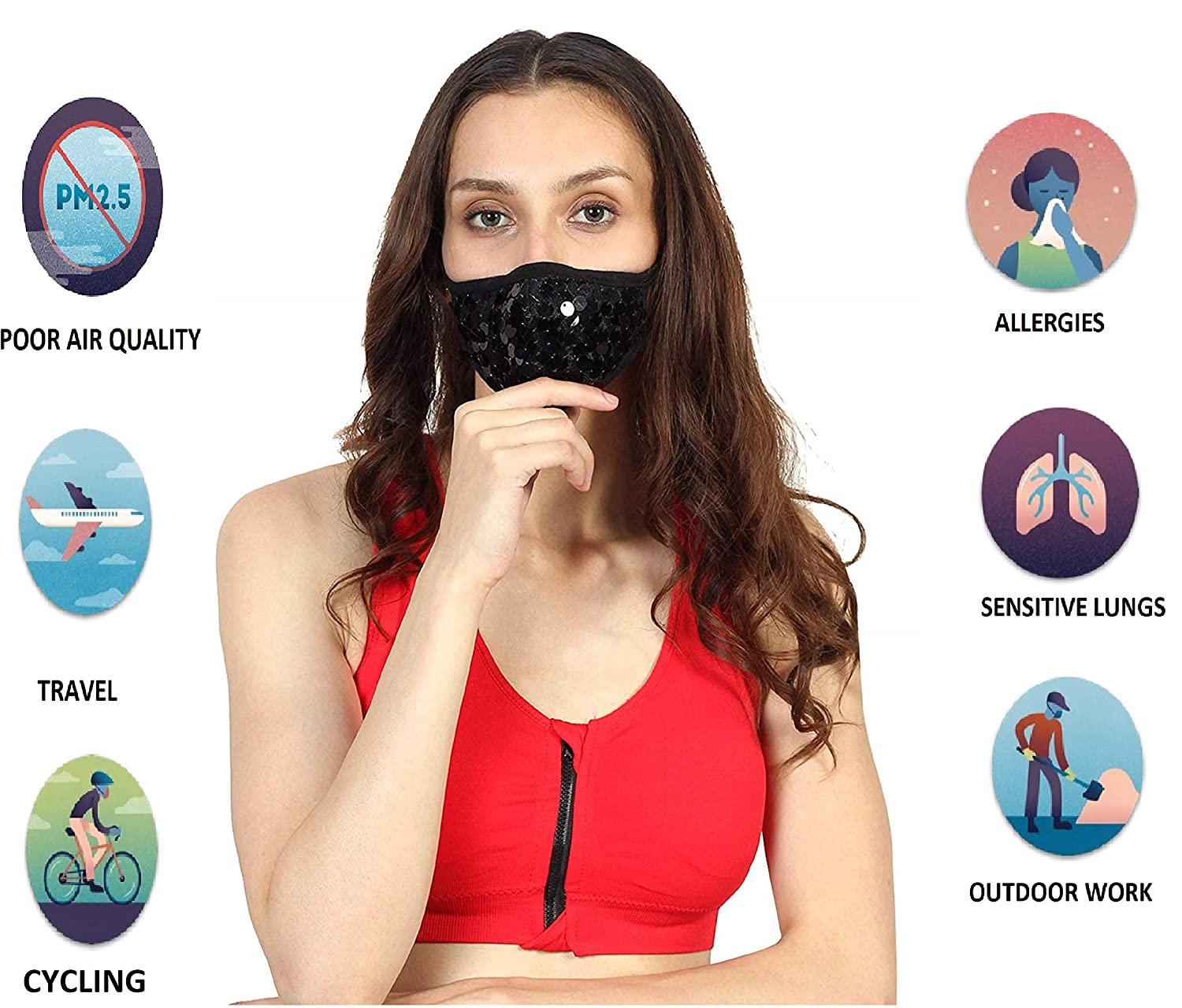 Buy Iklautta Reusable N99 Anti Pollution Mask (MOON&STONES) with 6 ...