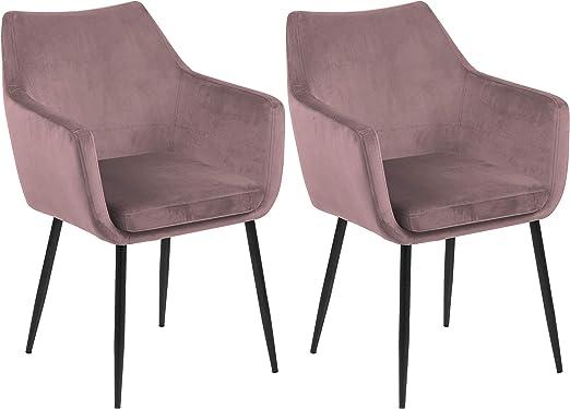 Samt Stuhl Rosa Silber