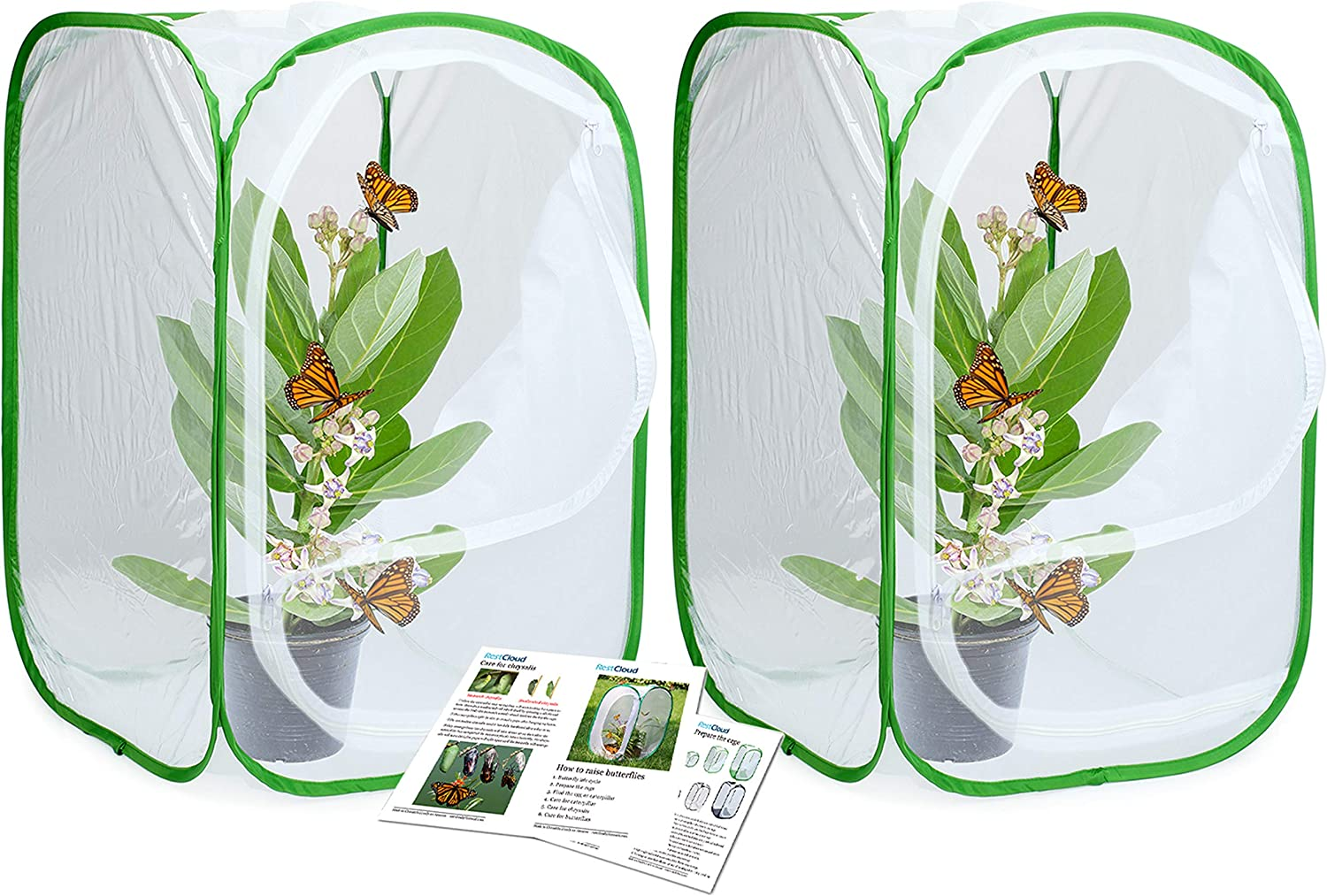 RESTCLOUD 2-Pack Insect and Butterfly Habitat Cage Terrarium Pop-up 24 Inches Tall