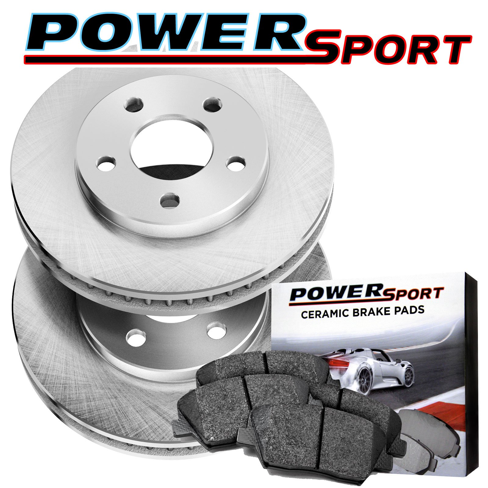 Rear PowerSport Replacement Brake Rotors and Ceramic Pads 2003-2007 Jeep Liberty