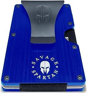 Savage Spartan Tactical Wallet | Slim Minimalist RFID Blocking Aluminum Metal Credit Card Holder With Money Clip for Men (Blue)