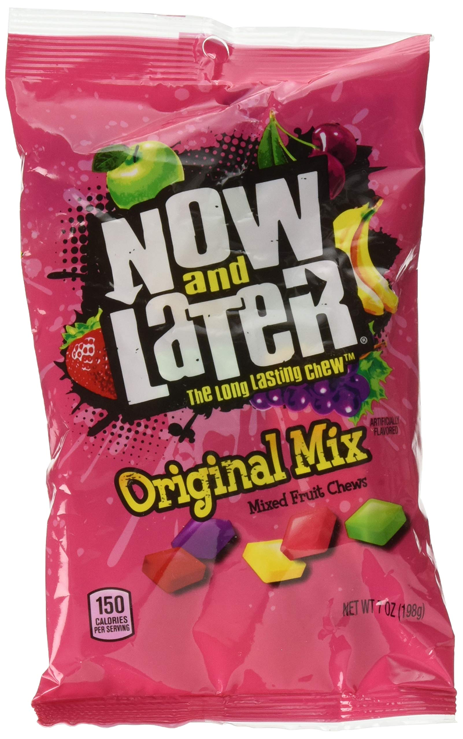 Now & Later Original Taffy Chews Candy, Mixed Fruit, 7 Ounce (Pack of 12)