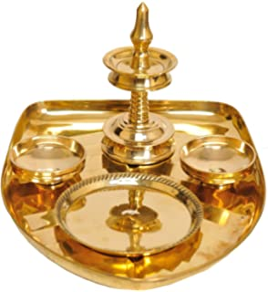Exotic India Banana Leaf Puja Thali - Brass