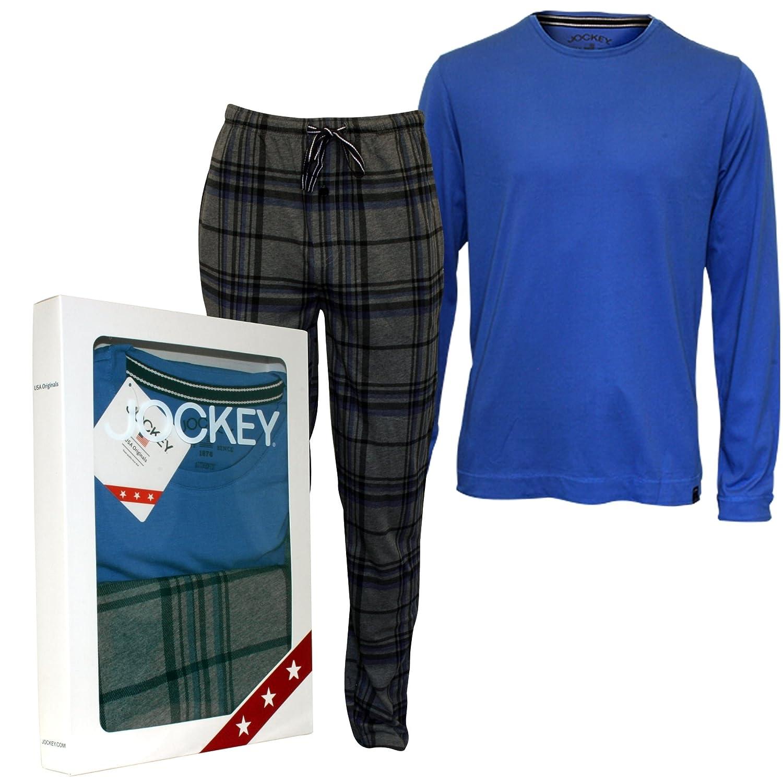 Conjunto De Pijama De Jockey Manga Larga Camiseta Y Fondos Jersey De Los Hombres, Azul/gris: Amazon.es: Ropa y accesorios