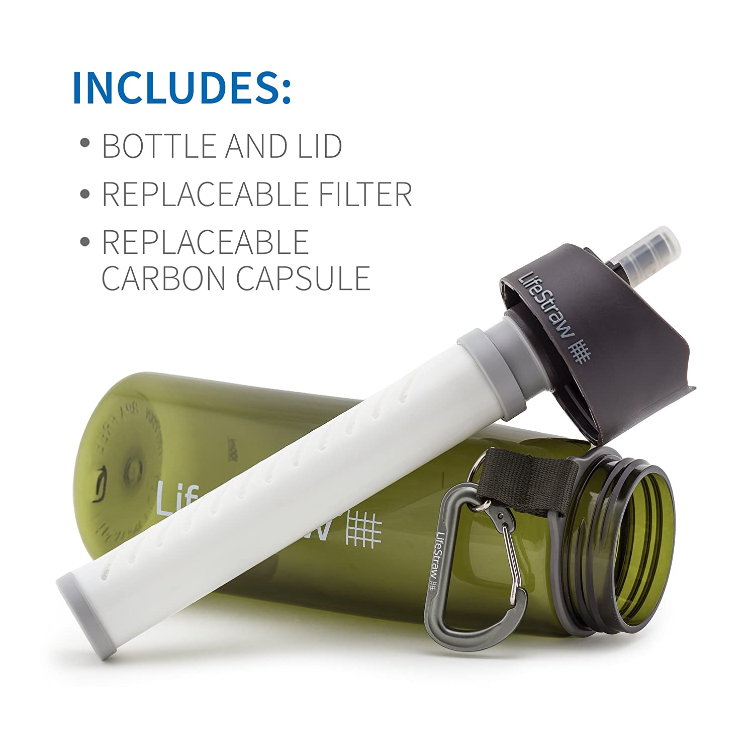 LifeStraw Go Water Filter Bottle with 2-Stage Integrated Filter Straw for Hiking Purple LSGOV2CR43 Backpacking and Travel