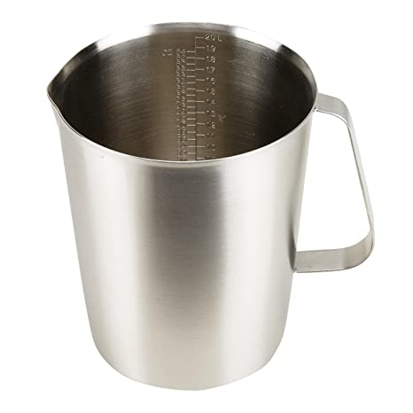 34eb902f761 Amazon.com: Stainless Steel Measuring Cup Pitcher with Marking with Handle  for Milk Froth Latte Art (64OZ/2 Liter): Kitchen & Dining