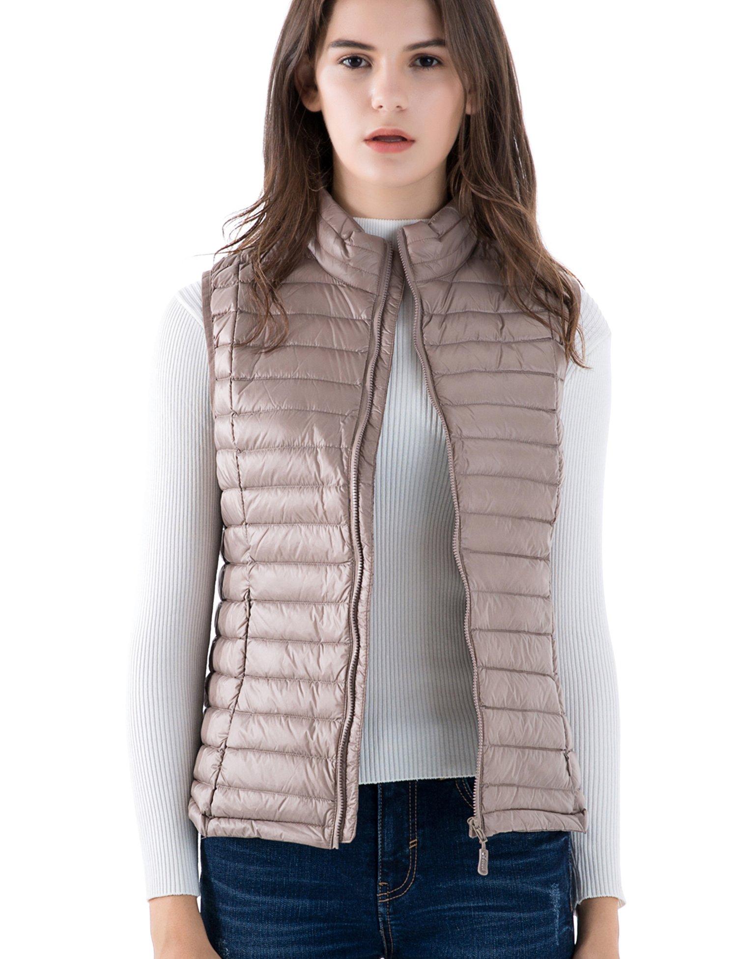 CHERRY CHICK Women's Ultralight Packable Down Vest (L, Beige-YX)