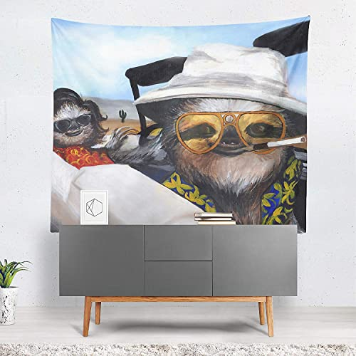 Sharp Shirter Funny Sloth Tapestry Wall Hanging Art Psychedelic Decoration Western Theme Las Vegas Movie Poster for Home Decor