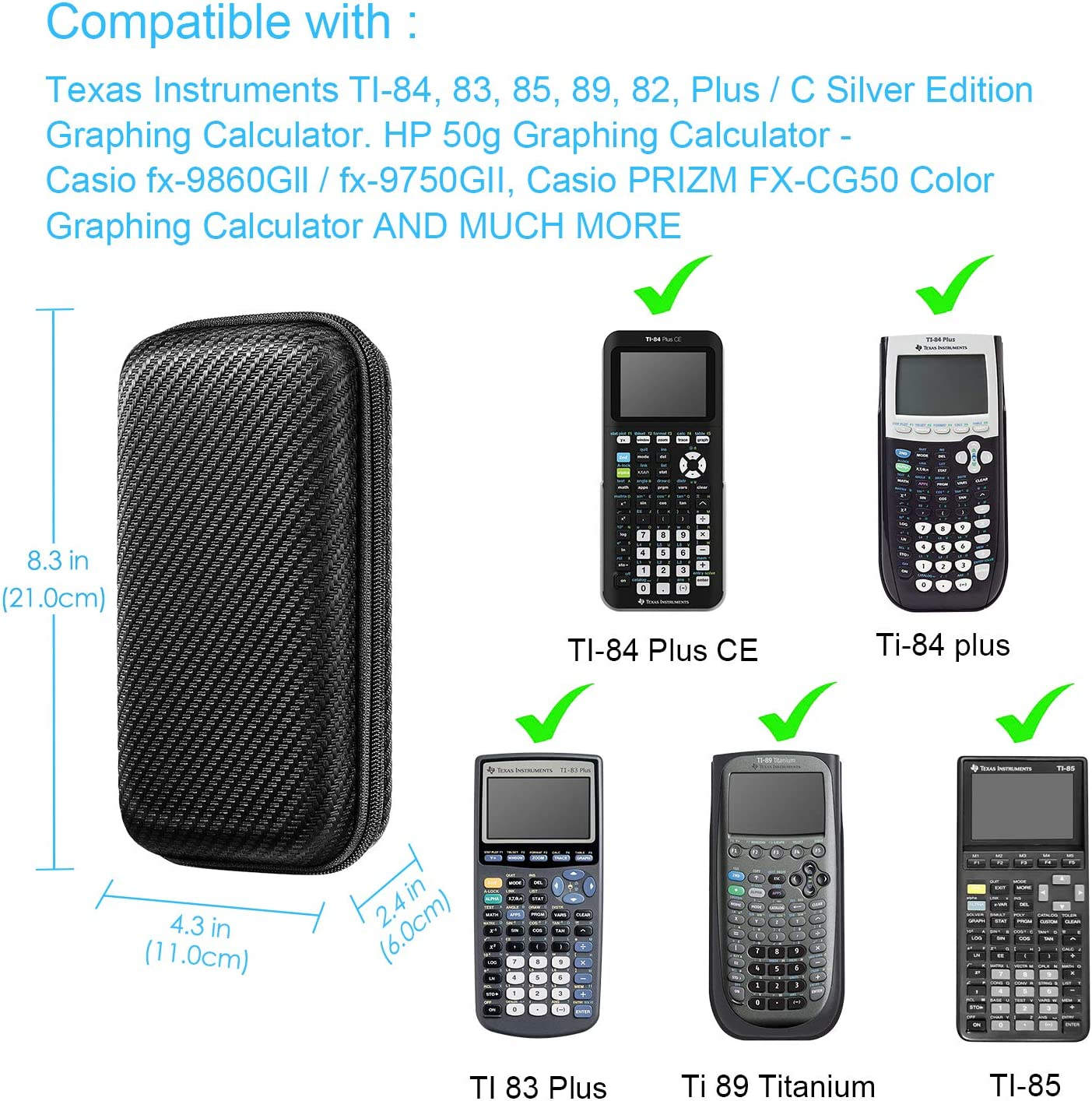 Black Graphing Calculator Carrying Case for Texas Instruments TI-84 Plus CE Fintie Hard EVA Shockproof Travel Protective Box