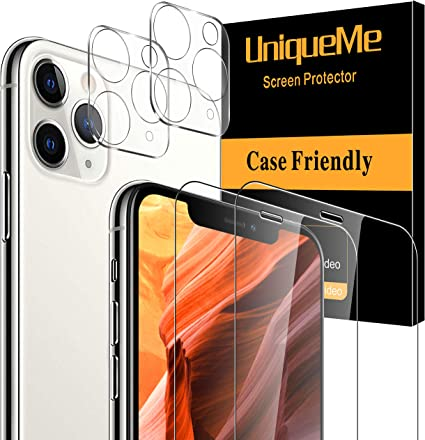 sans Bulles 9H Duret/é Cam/éra Arri/ère Protecteur pour iPhone 11 Pro//iPhone 11 Pro Max Cam/éra 2 pi/èces Ultra R/ésistant Film Verre Tremp/é UniqueMe Protection /écran