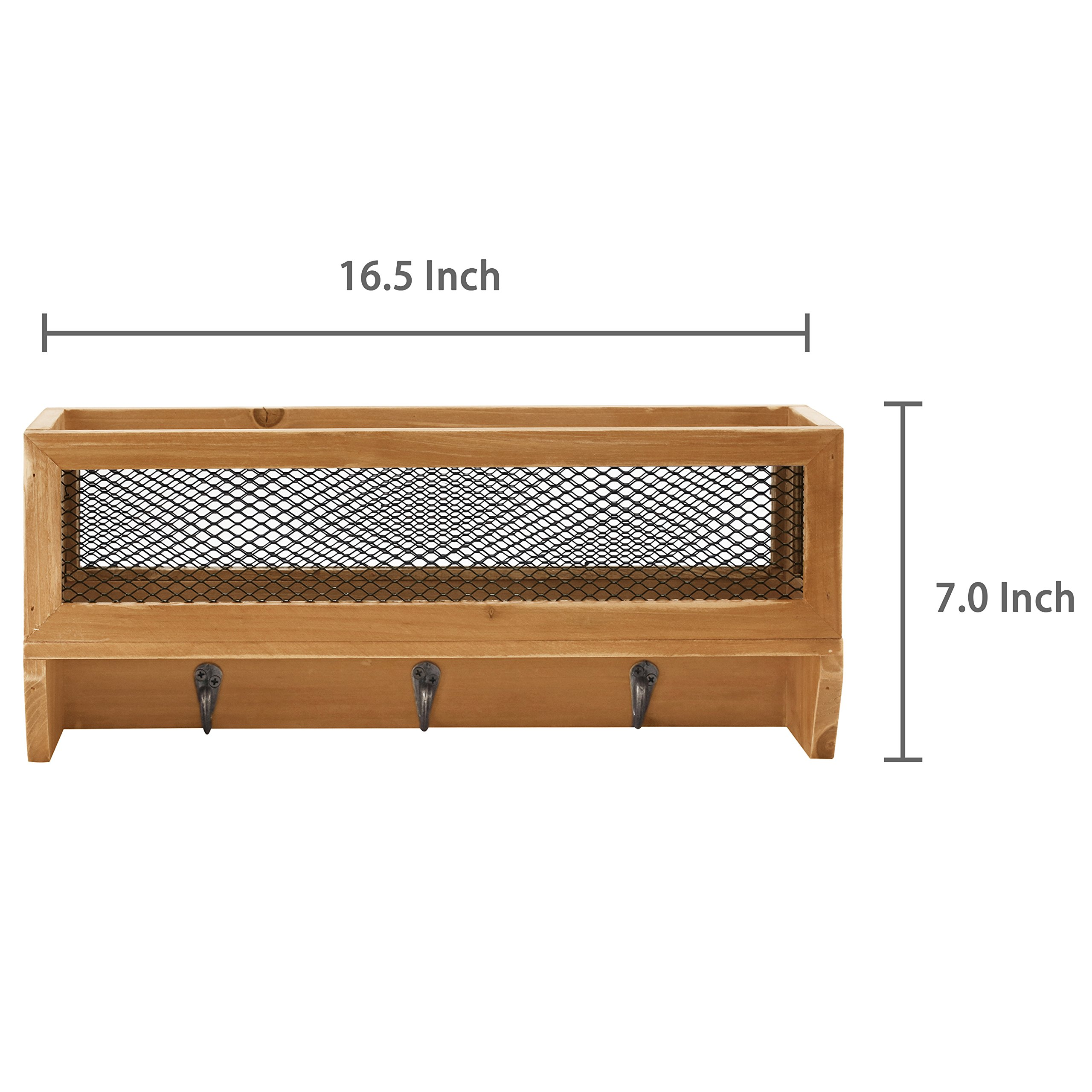 3-Hook Rustic Wooden Wall Mounted Entryway Organizer Rack with Metal Mesh Storage Basket by MyGift (Image #5)